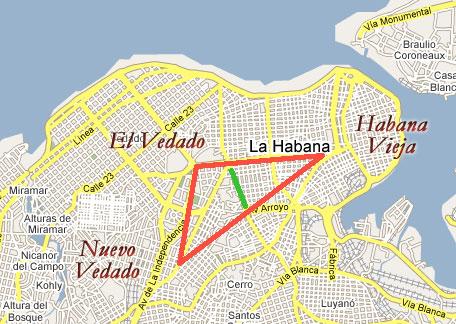 Mapa de la zona de Plaza (Carlos III) que no es ni Vedado ni Nuevo Vedado